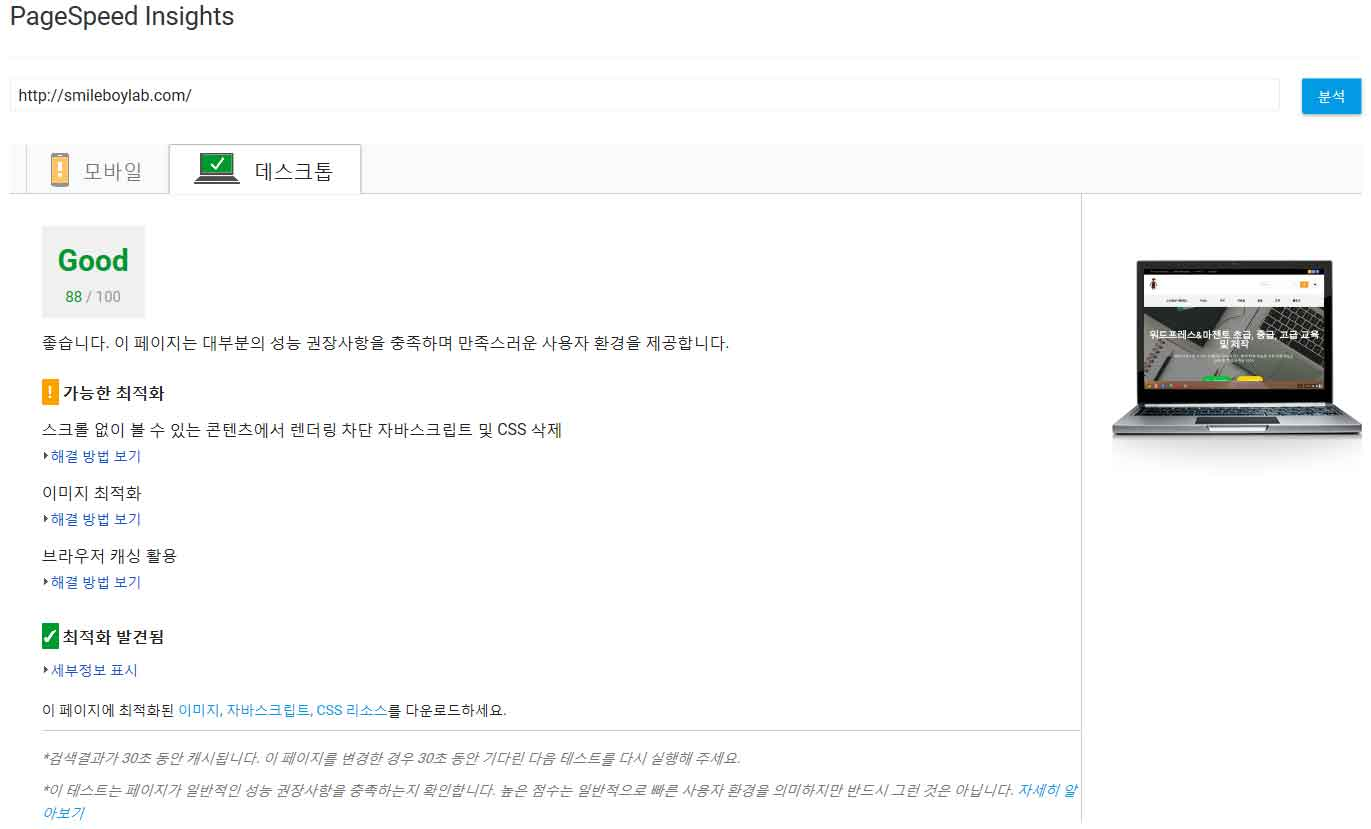 구글페이지스피드인사이트 데스크탑 측정결과